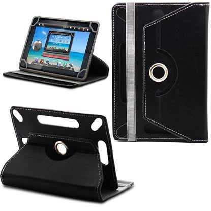 Picture of Leather 7-inch Tablet Cover Case 360 degree Rotating Stand For All Types Of 7-inch Tablets With 1 Touch Stylus Pen (Black)