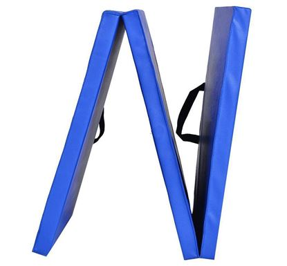Picture of Tri-Fold Exercise Mat with Handles- Yoga Pilates Exercise Fitness Closed Cell EVA Foam Non Slip Mat 180cm x 60cm x 5cm Blue
