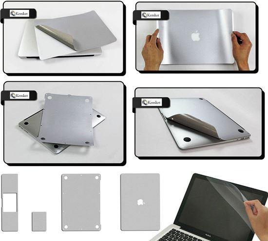Picture of MacBook 5 in 1 Clear Screen Protector Film For Apple MacBook Pro Retina - 12.1 Inch Laptop, Include Screen Protector, Palmrest with Trackpad, Upper and Bottom Cover Protective Skin, Easy To Install & Auto Absorption ( Silver )