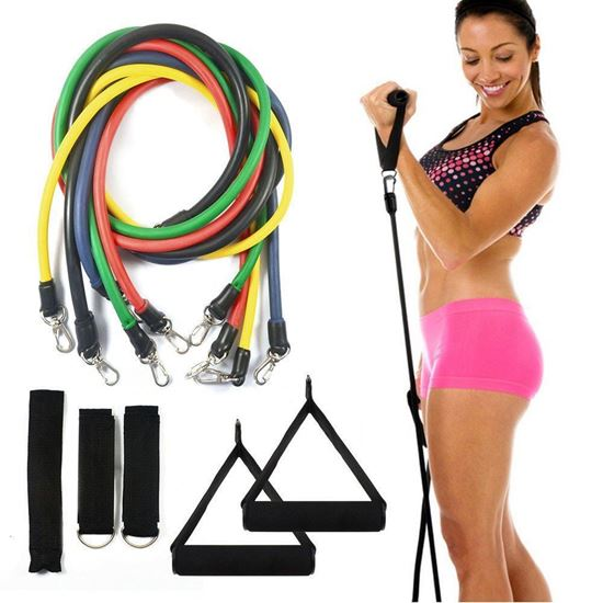 Picture of Resistance bands set - 5 tube set with handles, door anchor, ankle straps and carry bag for home fitness / travel fitness / strength