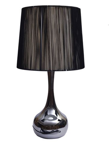 Picture of Table Lamp - Chrome Touch Bedside Table Lamps Lights Home Lamp Traditional Style (064-H969- Black)