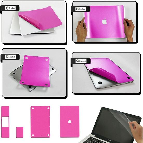 Picture of MacBook 5 in 1 Clear Screen Protector Film For Apple MacBook Pro Retina - 12.1 Inch Laptop, Include Screen Protector, Palmrest with Trackpad, Upper and Bottom Cover Protective Skin, Easy To Install & Auto Absorption ( Pink )