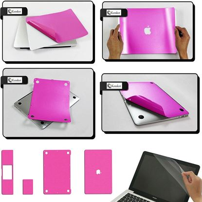 Picture of MacBook Air- 13.3 Inch Clear Screen Protector 5 in 1 Screen Protector Film For Apple Mac Book Laptop, Include Screen Protector, Palmrest with Trackpad, Upper and Bottom Cover Protective Skin, Easy To Install & Auto Absorption ( Pink )