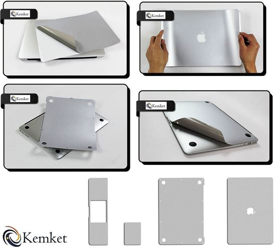 Picture of MacBook 5 in 1 Clear Screen Protector Film For MAcBook Pro Retina- 13 Inch - Include Screen Protector, Palmrest with Trackpad, Upper and Bottom Cover Protective Skin, Easy To Install & Auto Absorption ( Silver )