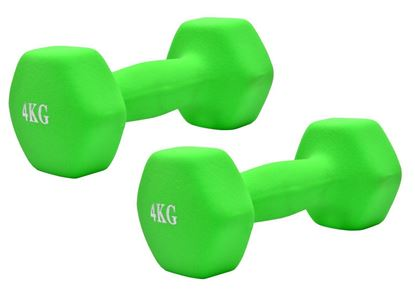 Picture of Neoprene Hand Dumbbells Weights (Pair) Fitness Home Gym Exercise Barbell 4kgs Home Gym Fitness Exercise workout training