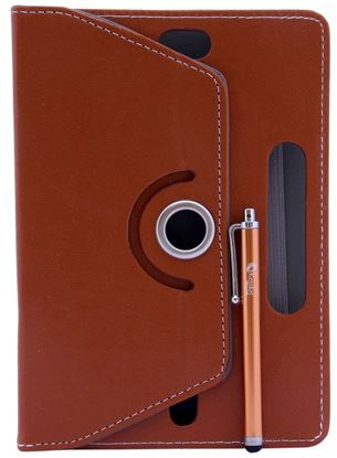 Picture of Leather 7-inch Tablet Cover Case 360 degree Rotating Stand For All Types Of 7-inch Tablets With 1 Touch Stylus Pen (Brown)