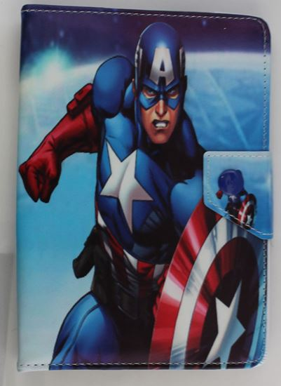 Picture of Leather 7-inch Tablet Cover Case 360 degree Rotating Stand For All Types Of 7-inch Tablets  3 cartoon designs case CAPTAIN AMERICA BLUE