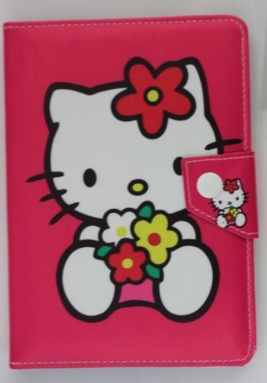 Picture of Leather 7-inch Tablet Cover Case 360 degree Rotating Stand For All Types Of 7-inch Tablets  3 cartoon designs case HELLO KITTY PINK
