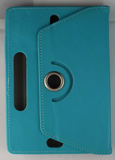 Picture of Leather 7-inch Tablet Cover Case 360 degree Rotating Stand For All Types Of 7-inch Tablets rotating case with hole center BLUE