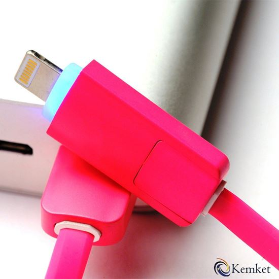 Picture of 2 In 1 Micro USB data cable for iPhone and Android series 1m PINK