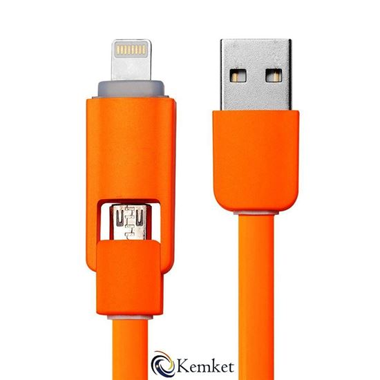 Picture of Charging Cable - 2 In 1 Micro USB data cable for iPhone and Android 1m ORANGE
