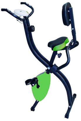 Picture of Kemket Foldable Exercise Bike With Pulse Sensor Grips Folding Magnetic Bike Exercise Bike X Frame Fitness Cycle Cardio Weight Loss Fitness Workout Machine Green