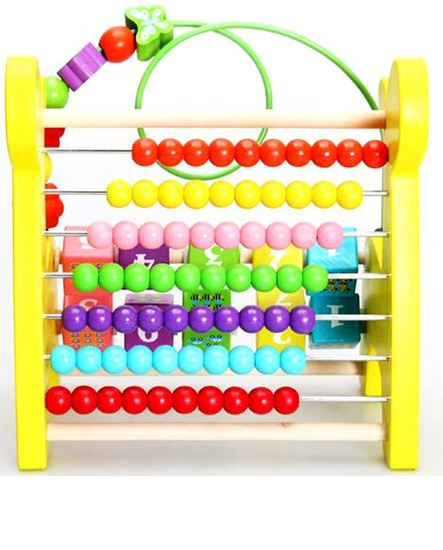 Picture of String beads early educational baby toys lovely deer wooden abacus calculation rack kids enlighten toy