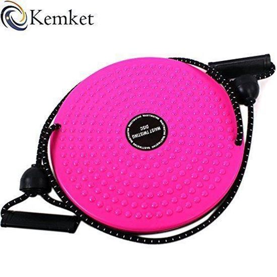 Picture of Kemket Waist Twister Disc Fitness Massage Round With Hand Ropes Foot Massager pink