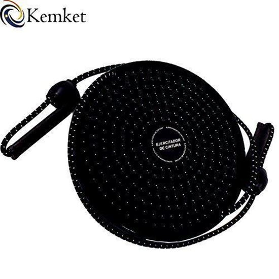 Picture of Kemket Waist Twister Disc Fitness Massage Round With Hand Ropes Foot Massager Black