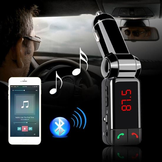 Picture of Bluetooth Wireless In-Car FM Transmitter with Dual USB Charging,Music Control and Hands-Free Calling for Smartphones and Tablets