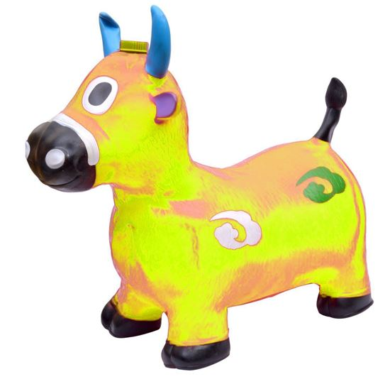 Picture of YELLOW Cow Hopper - (Inflatable Space Hopper, Jumping Cow, Ride-on Bouncy Animal)