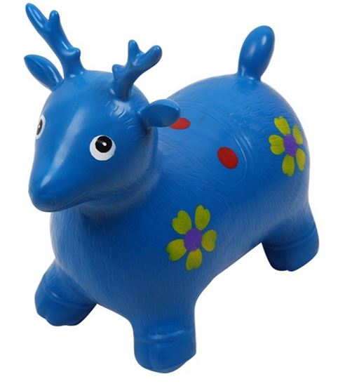 Picture of Blue Deer Hopper - (Inflatable Space Hopper, Jumping Deer, Ride-on Bouncy Animal)