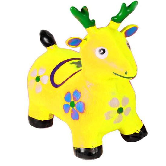 Picture of YELLOW Deer Hopper - (Inflatable Space Hopper, Jumping Deer, Ride-on Bouncy Animal)