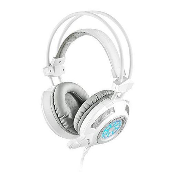 Picture of Gaming Headset - 3.5mm Stereo LED Lighting Over-Ear Gaming Headset with Mic for PC Game With Noise Cancelling and Volume Control - G900 game headphone white