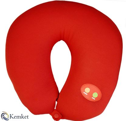 Picture of Kemket Massage Pillow Soft & Comfort With Double Button(on/off) Vibrating Neck Pillow Massage For Stress and Tension Relief, Travel pillow,U-shape massage pillow, Neck Massager- Red