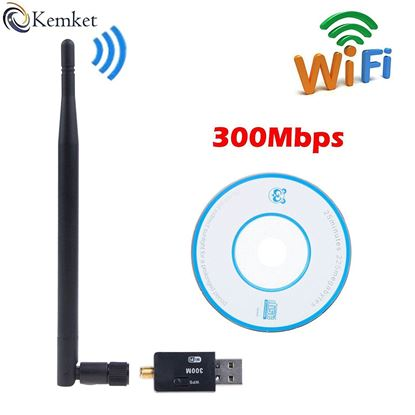 Picture of Kemket WiFi USB Adapter- 300 mbps, 150mbps with antenna / Wireless LAN / USB 2.0 Adaptor / Mini Dongle 802.IIN / SMA connection / works with PC + MAC | for Win 10 / Win 8 / Win 7 / OSx (300 Mbps)