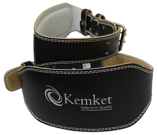 "Picture of Kemket 4"" & 6"" Leather Padded Lumbar & Back Support Brace for Men & Women Double Prong Buckle Weight Lifting Belt Back Gym Strap Training Support Fitness Exercise Bodybuilding"
