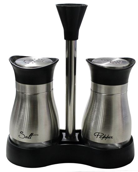 Picture of 2-Piece Stainless Steel Salt and Pepper Jar Rack Set