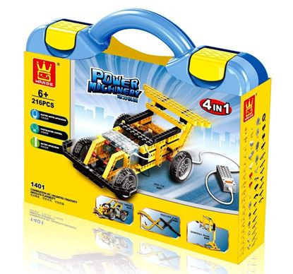 Picture of 4 in 1 electric race car building set, 216 pieces kids DIY engineering vehicle race car, street sweeper, gripping pliers, basketball stand building blocks set with electronic motor, creative building