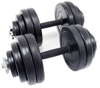 Picture of Kemket Dumbbell Set Kit Weights Training Gym Workout Fitness Body Building Home Muscle Training Bodybuilding- RubberCoated Iron Combination Dumbell 20 KG