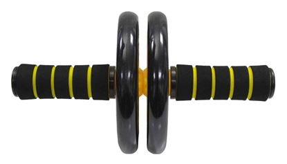 Picture of Kemket Abdominal Exercise Slider Roller Wheel With Extra Thick Knee Pad Mat and Comfort Foam Handles. YELLOW