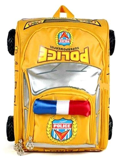 Picture of Autokids Child Backpack Anti-lost The Police Car Design Bag With Pencil Case (Yellow)