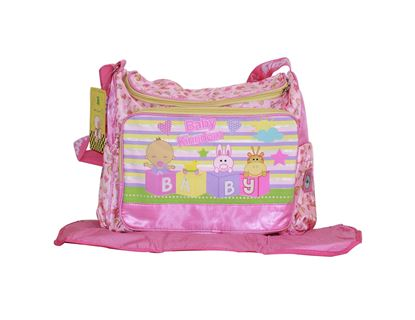 Picture of Baby Kingdom Cartoon Design Nappy Diaper Changing Bag with mat  Pink