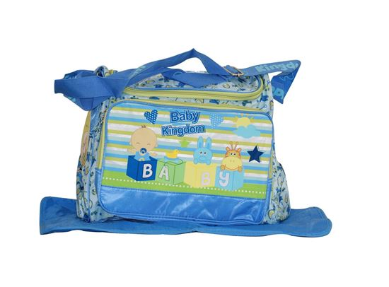 Picture of Baby Kingdom Cartoon Design Nappy Diaper Changing Bag with mat  Blue