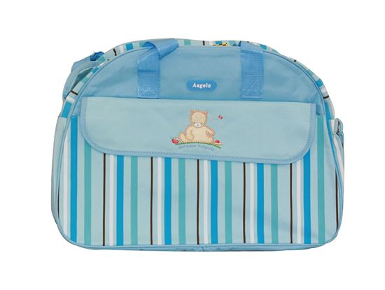 Picture of Baby Kingdom Angelo Strip Design Nappy Diaper Changing Bags Set Blue