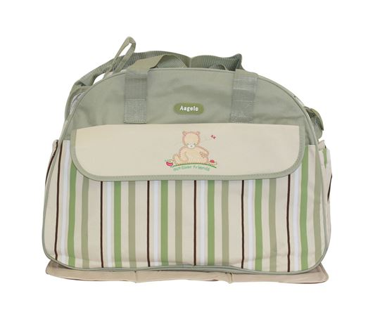 Picture of Baby Kingdom Angelo Strip Design Nappy Diaper Changing Bags Set Green