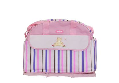 Picture of Baby Kingdom Angelo Strip Design Nappy Diaper Changing Bags Set Pink