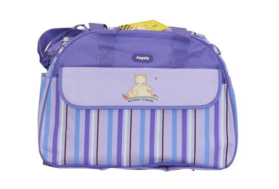 Picture of Baby Kingdom Angelo Strip Design Nappy Diaper Changing Bags Set Purple