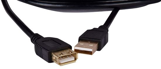 Picture of USB 2.0 A Male to A Female Premium Quality Super Speed Extension Cable Extender Lead golden head (5 Meter)