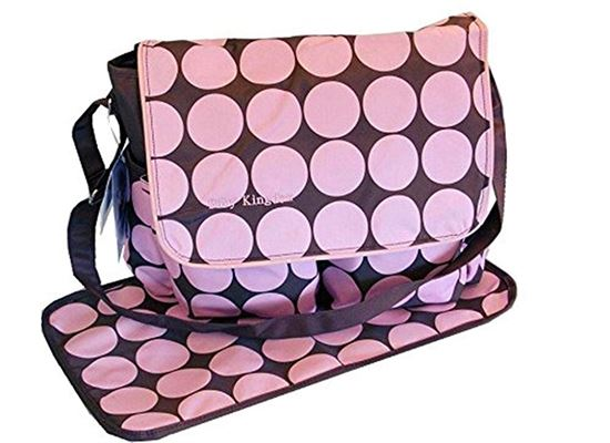 Picture of Large Polka Dots Nappy Diaper Changing Bags Set BROWN/PINK