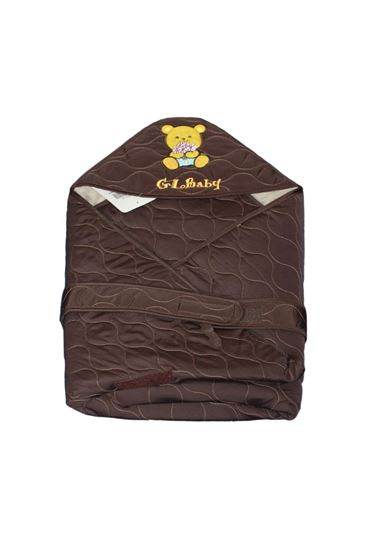 Picture of Newborn Baby Kid Super Soft Swaddle Blanket Wrap Hood Sleeping Bag Brown