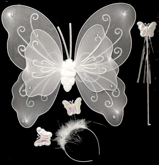 Picture of BUTTERFLY WING 3 PCS WITH SKIRT WHITE