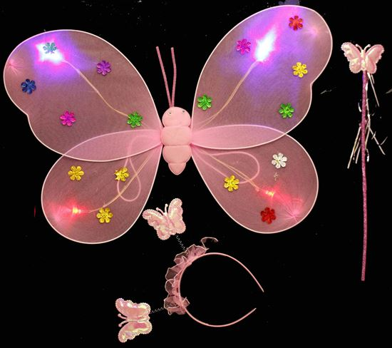 Picture of BUTTERFLY WING 3 PCS WITH LIGHT PATTERN CHANGE PINK