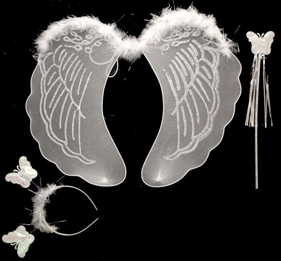 Picture of FAIRY WING 3 PCS WITH STICK AND HAIR BAND WHITE