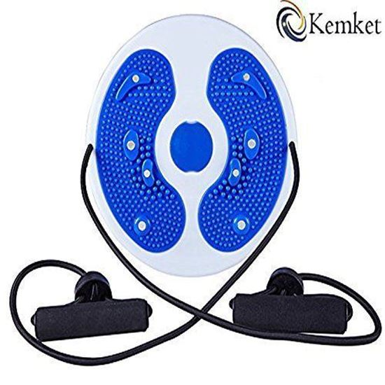 Picture of Kemket Magnetic Waist Twister Disc Fitness Massage Round With Hand Ropes And Without Ropes Foot Massager Stepper wriggled plate (Blue, With Ropes)
