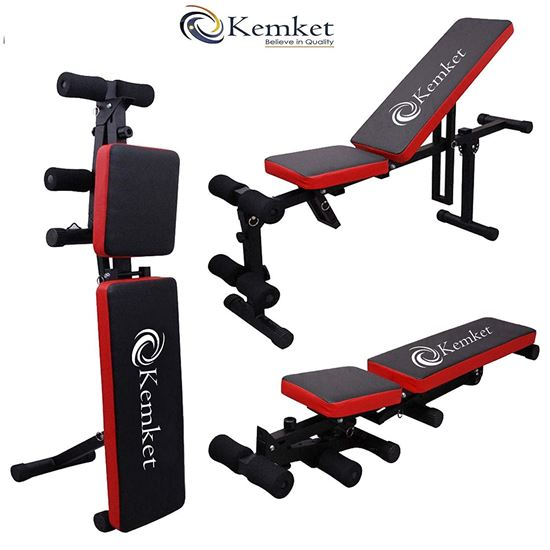 Picture of Fully Adjustable Folding Gym Weight Bench- Home Workout Bench Height Adjustable Utility Bench Flat Incline Decline Abs ,Bench Press, Adjustable Barbell Crunch
