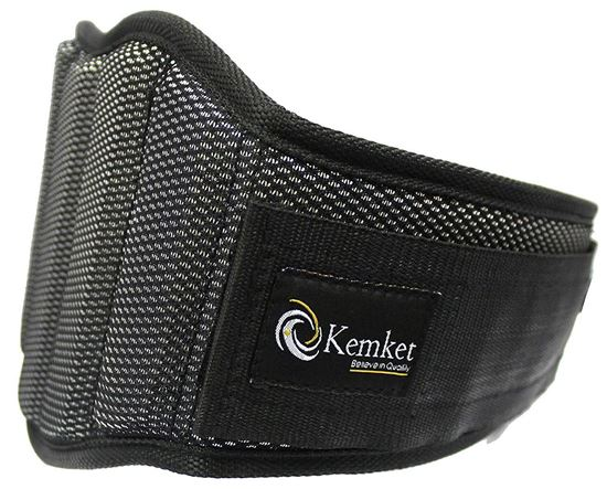 "Picture of Kemket ™ Weight Lifting Belt - Elite Body Squad Pro Quality Neoprene Back Support Belt & Bodybuilding Lumbar Back Support Gym prominent muscle strain protection belt With Speed Fit Velcro Closure And Stainless Steel Hook And Loop Design - 6"" Wide Soft Feel Padding + 100% Satisfaction Guarantee small Waist Size - L 28"" - 35"""
