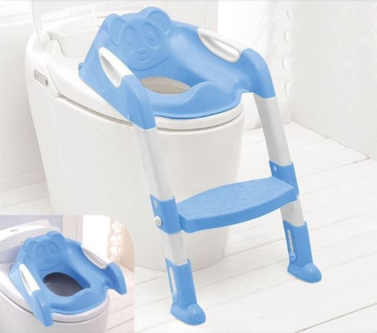 Picture of BABY KIDS/TODDLER/CHILD TOILET POTTY TRAINING STEP LADDER TOILET SEAT STEPS ASSISTANT POTTY FOR TODDLER CHILD TOILET TRAINER (BLUE )