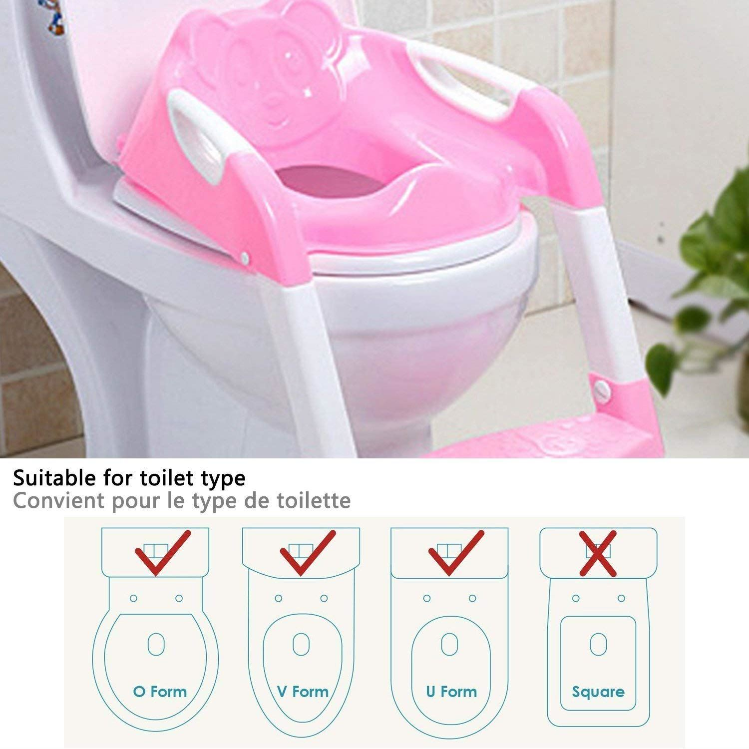 Pink Toilet Seat For Children With Step and Ladder