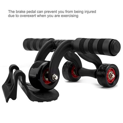 Picture of Three Wheel Abdominal Ab Roller with Knee Pad Mat- Core Abdominal Trainers for Home Exercise, Body Fitness Strength Training Machine AB Wheel Gym Tool